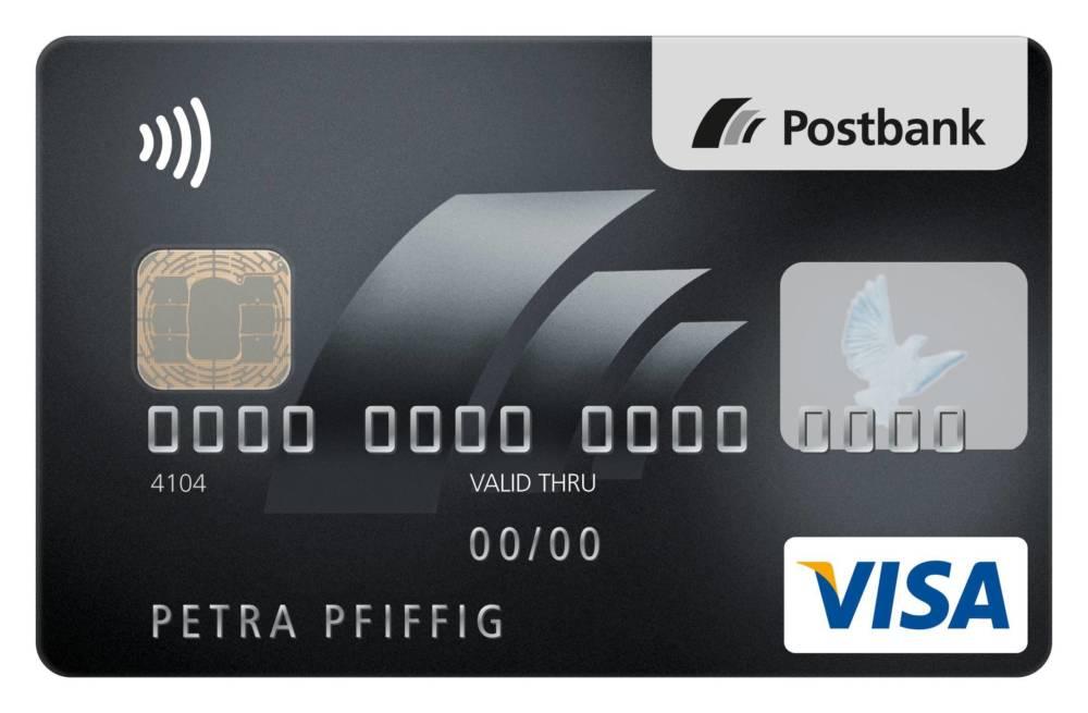 Auf der VISA-Card Platinum von der Postbank ist oben links das NFC-Logo zu sehen.