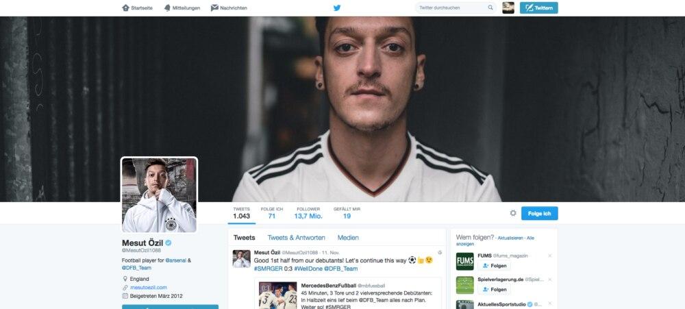 So sieht der Twitter-Account von Mesut Özil aus.