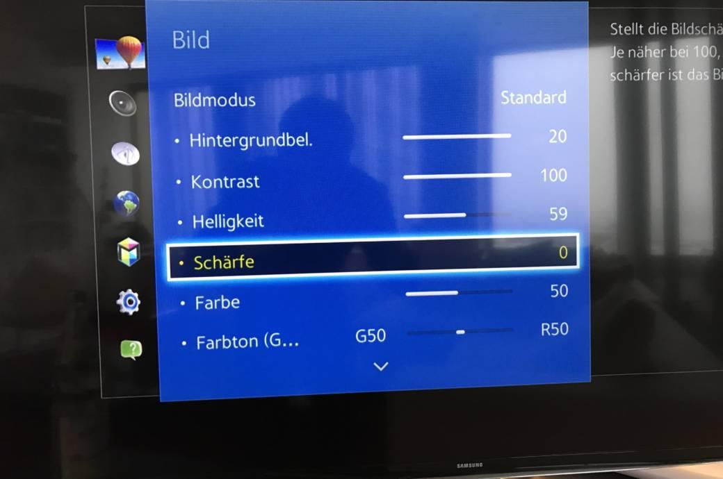 Samsung Smart TV Einstellungen Schärfe