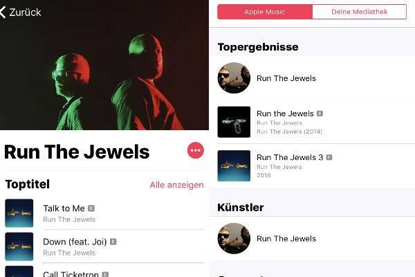 Apple Music zeigt beim Künstler direkt die beliebtesten Titel als Toptitel an.