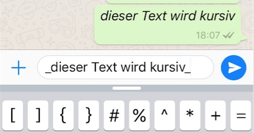 italicized text on WhatsApp with an underscore before and one behind the text.
