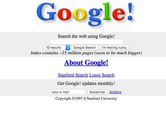Google aus dem Jahr 1998