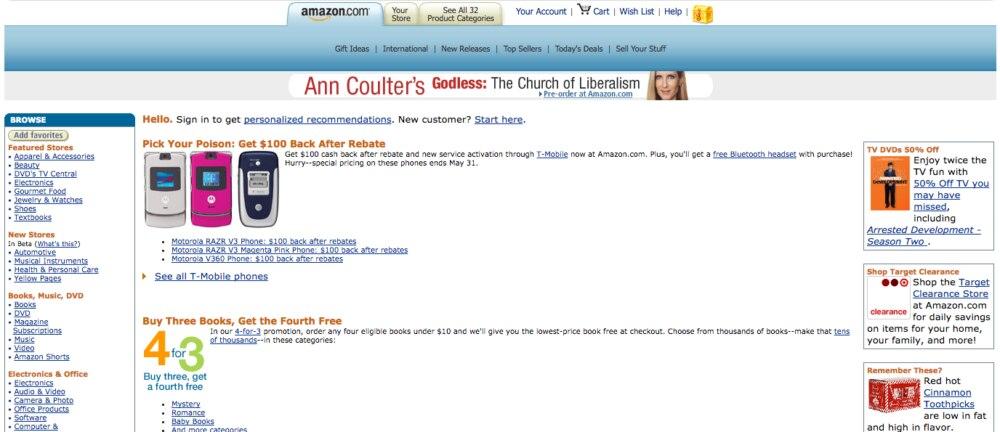 Die Website von Amazon ging relativ spät online.
