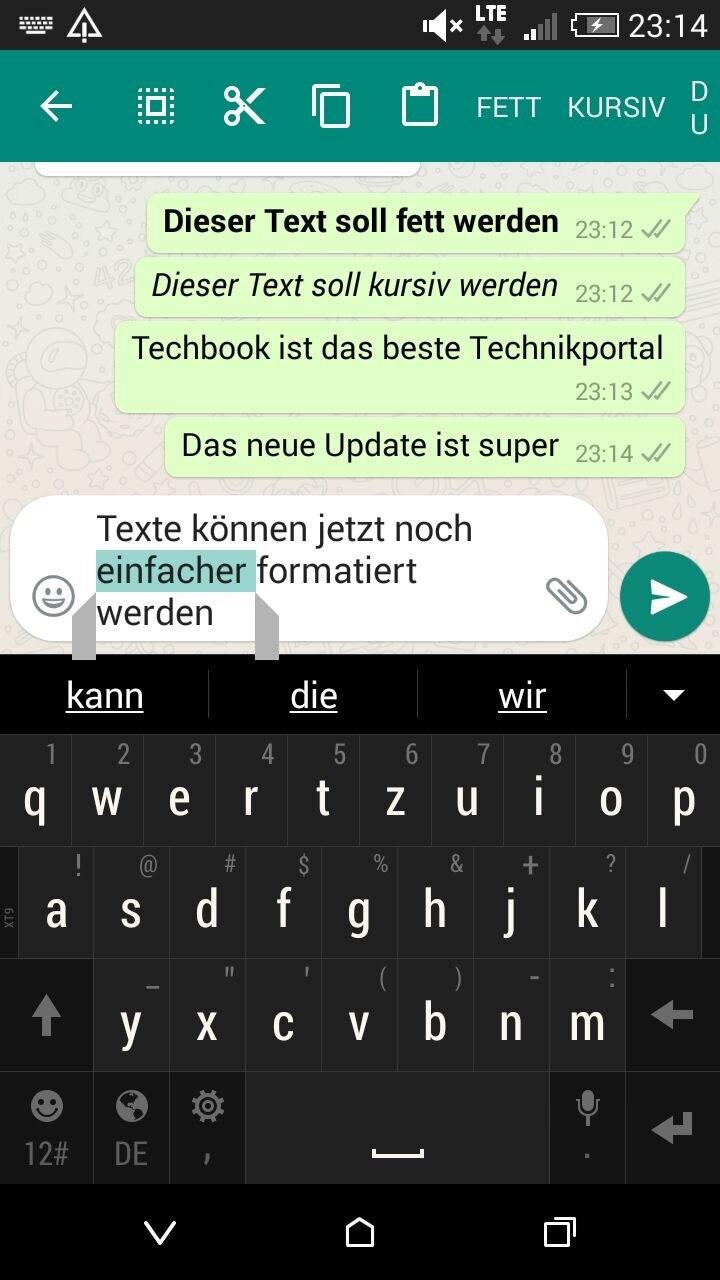 Texte können jetzt von Android-Nutzern noch leichter formatiert werden.