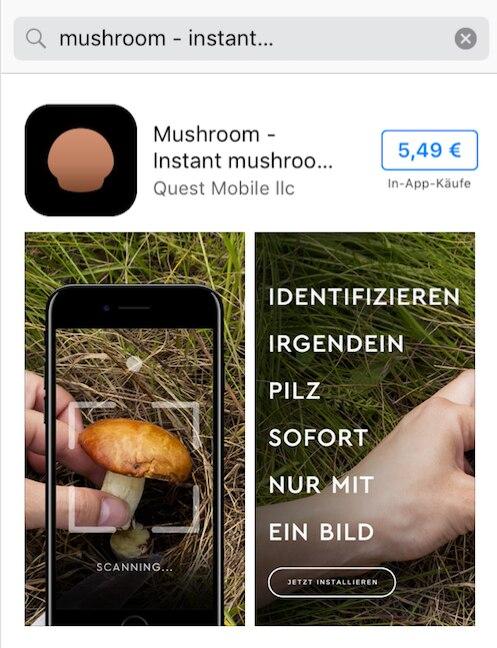 """In der deutschen Version wirbt die App """"Mushroom"""" immer noch damit, Pilze mit nur einem Foto erkennen zu können."""