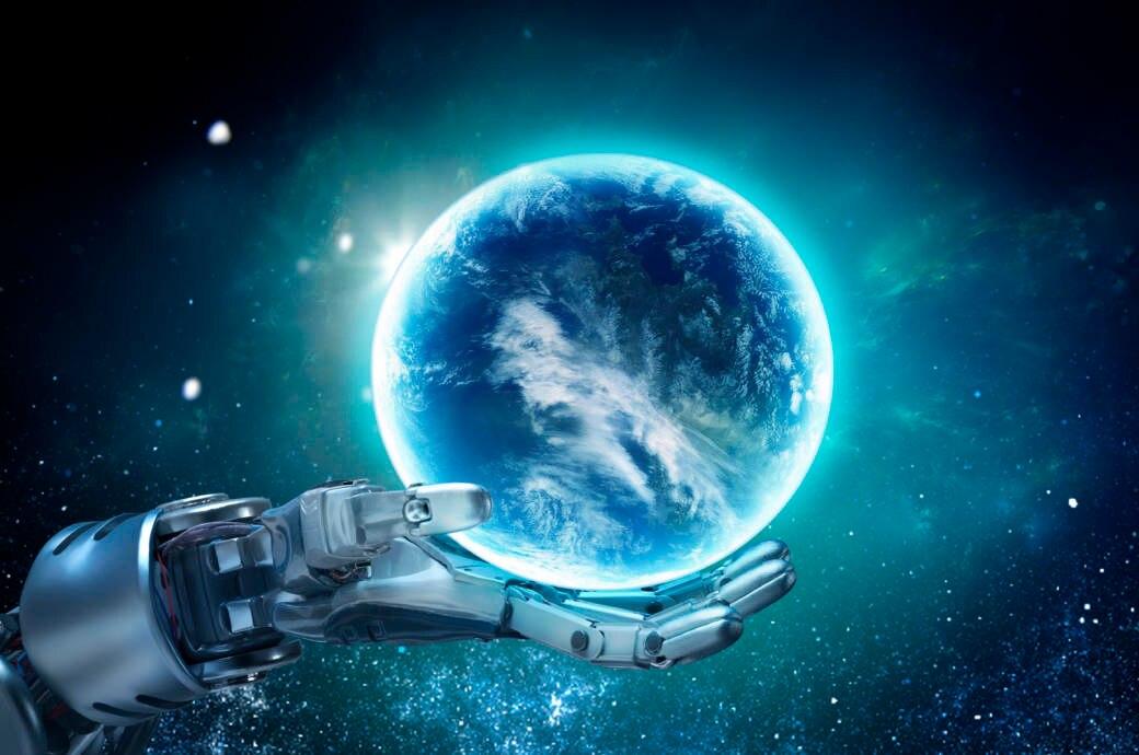 Roboterhand hält Weltkugel