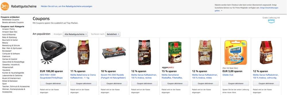 Solche Rabattgutscheine können Kunden bei Amazon erhalten.