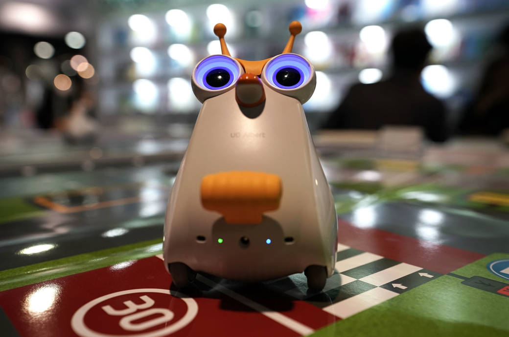 UO Albert, a small robot part of the program CodingPlay for children coding education, is on display during CES 2018 at the Las Vegas