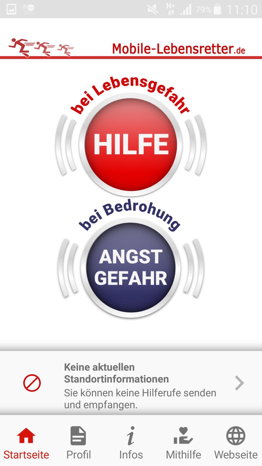 Screenshot: Hauptmenü Mobile Lebensretter-App