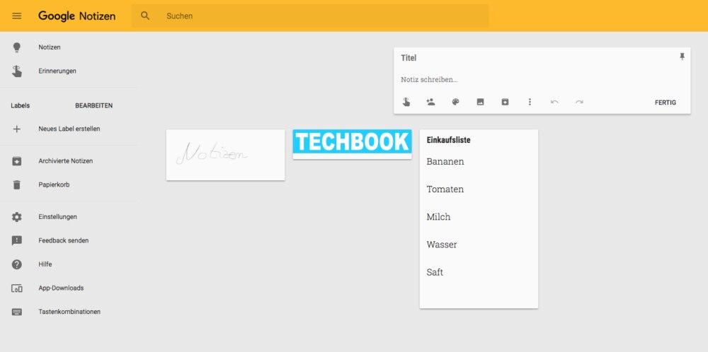 Notizen können Sie mit Google Keep speichern und verwalten.