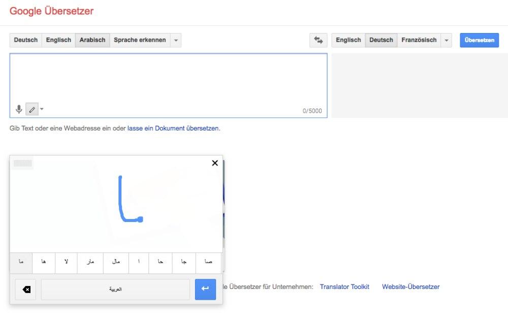 Vor allem bei Sprachen mit einem anderen Alphabet ist die Handschrift-Funktion sehr hilfreich.