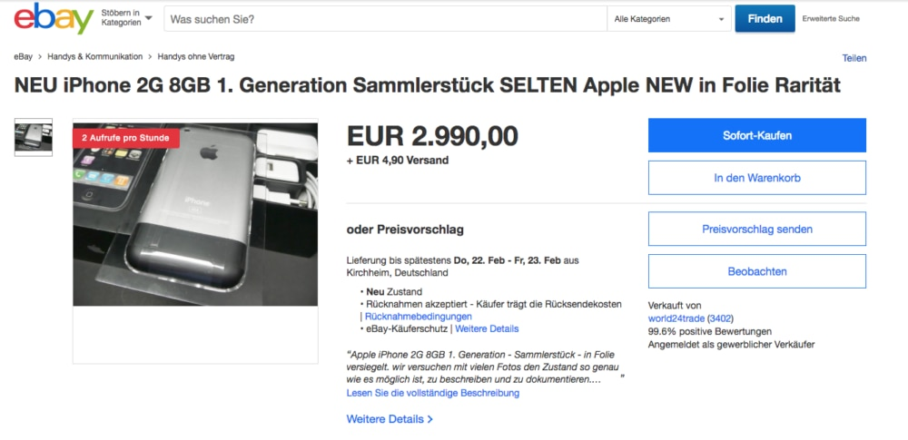 The first iPhone is being offered on portals such as Ebay for prices between 1000 and 3000 euros.