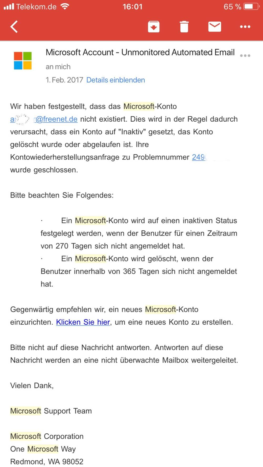 Microsoft Support-Email