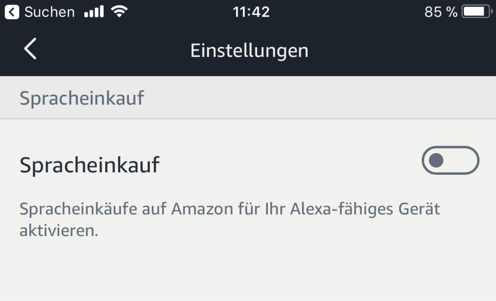 Spracheinkauf-Reiter in den Einstellungen der Alexa-App steht auf deaktiviert.