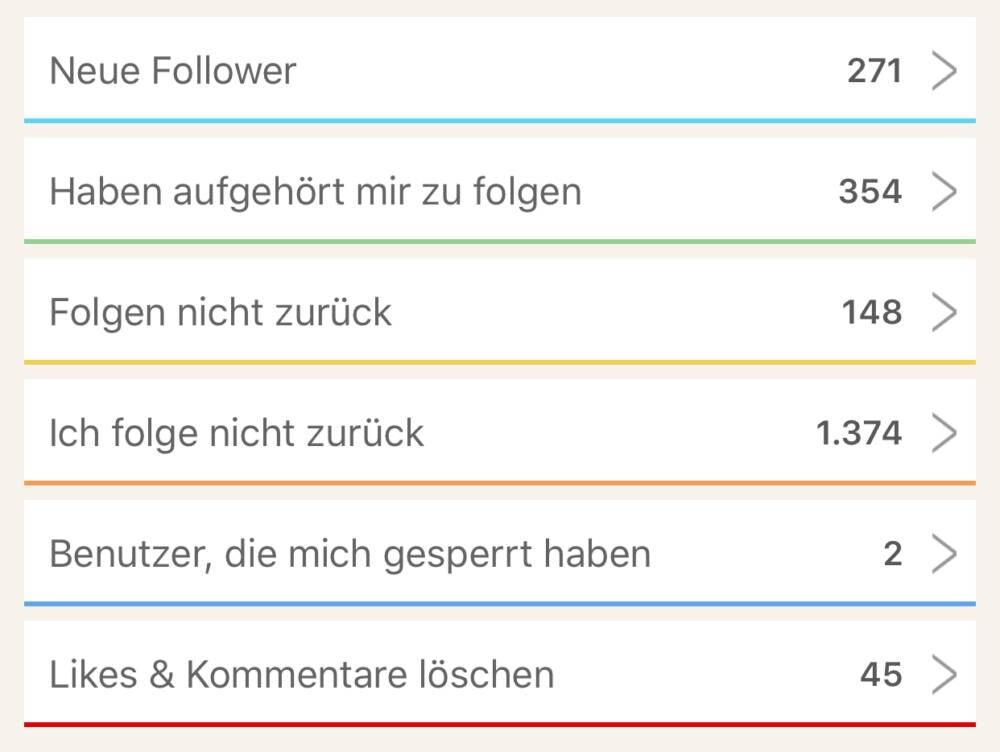 Screenschot einer Follower-App