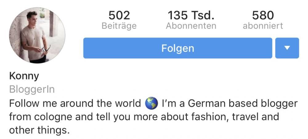 Instagram Bio eines Mannes