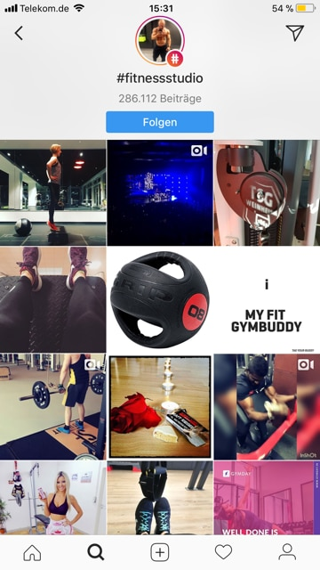Instagram Feed eines Hashtags