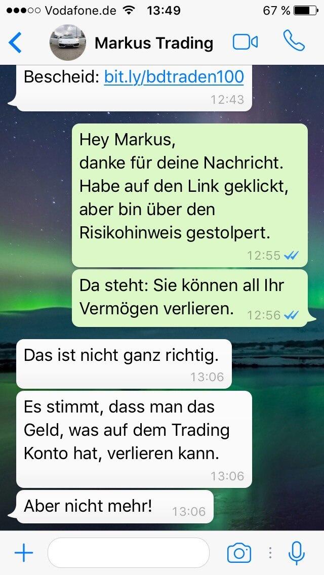 Auf das finanzielle Risiko angesprochen, wird der WhatsApp-Nutzer beruhigt.