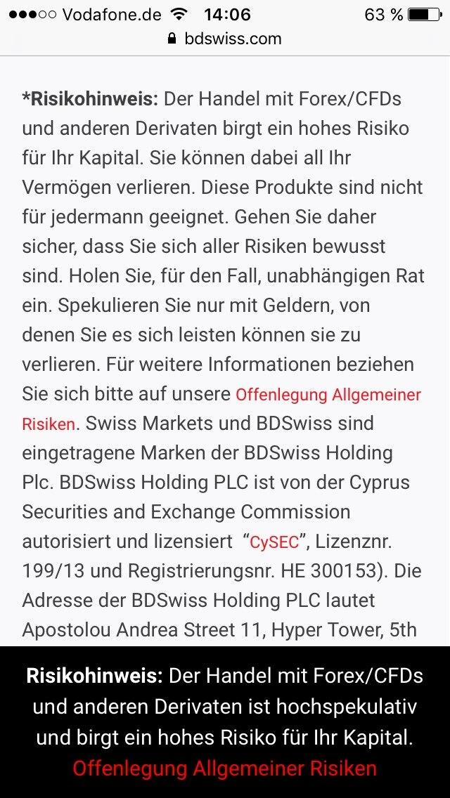 Auf der Seite BDSwiss gibt es gleich zwei Hinweise, die vor dem Risiko dieses Handels, welches Markus Trading empfiehlt, warnen.