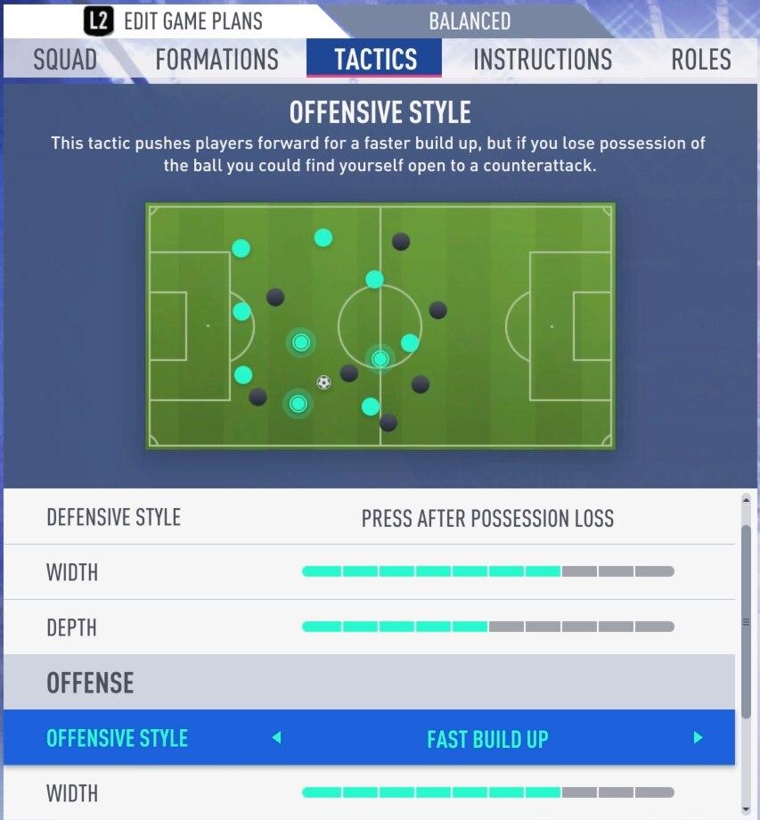 Taktikeinstellungen FIFA