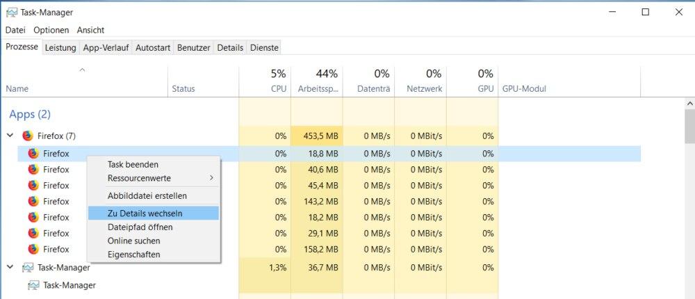 Details anzeigen im Task Manager von Windows