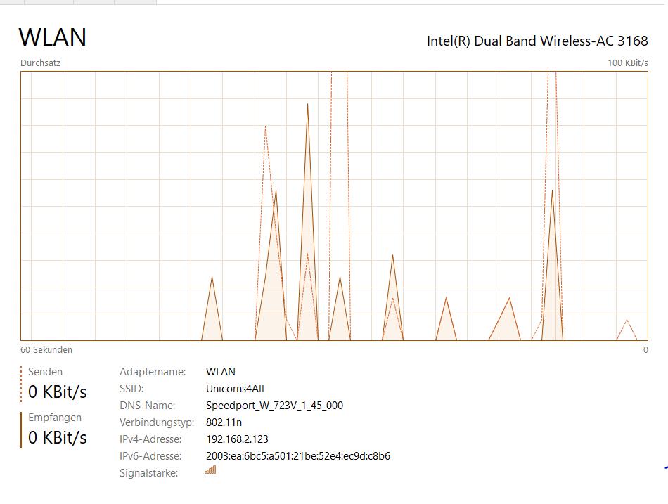 WLAN-Leistung im Task Manager von Windows