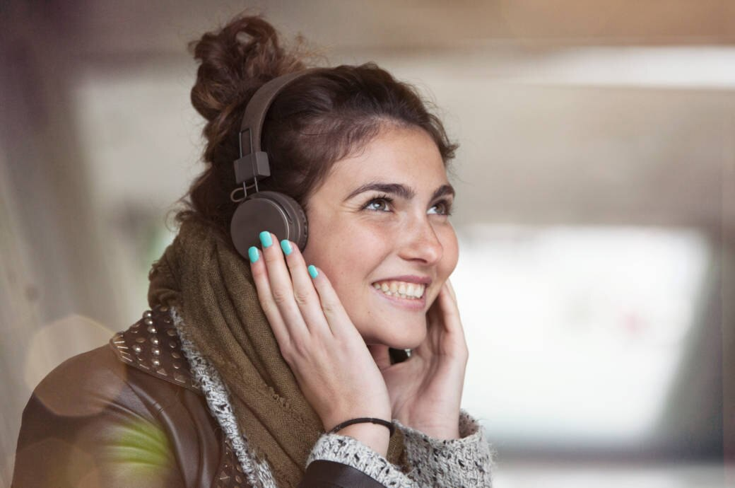Woman with Headphones on