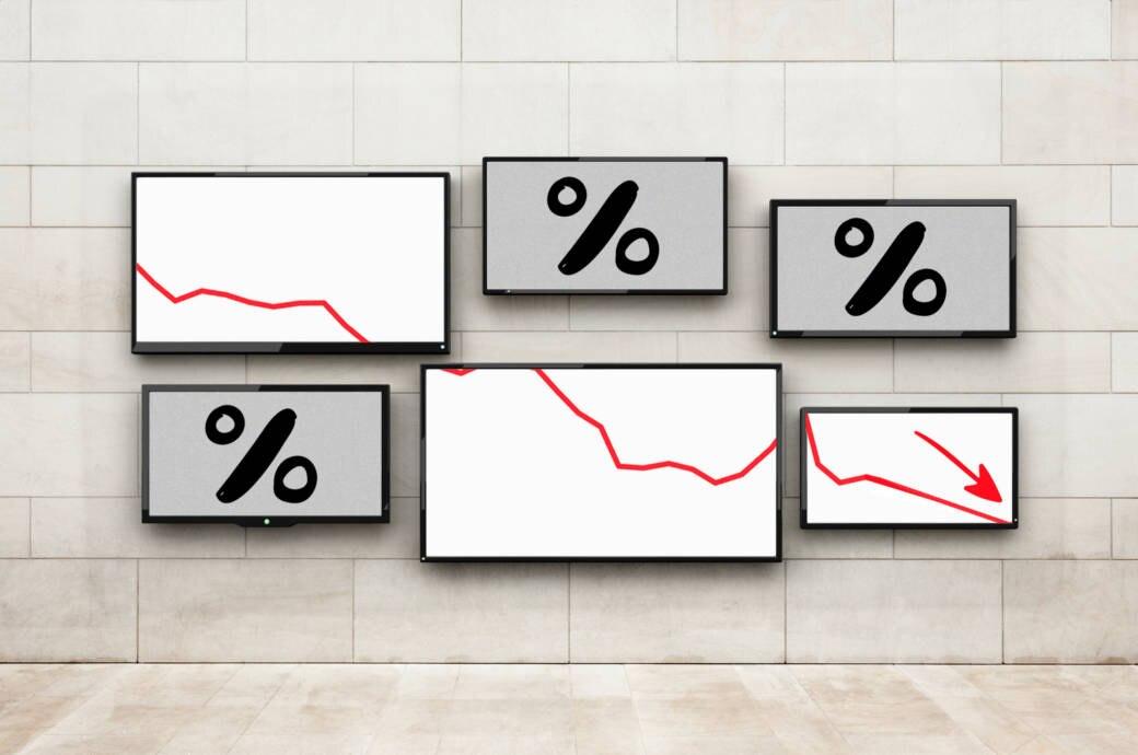 Fernseher mit absteigender Rabattkurve