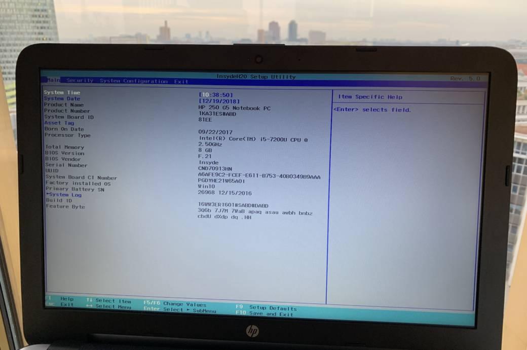 BIOS-Einstellungen auf HP-Laptop