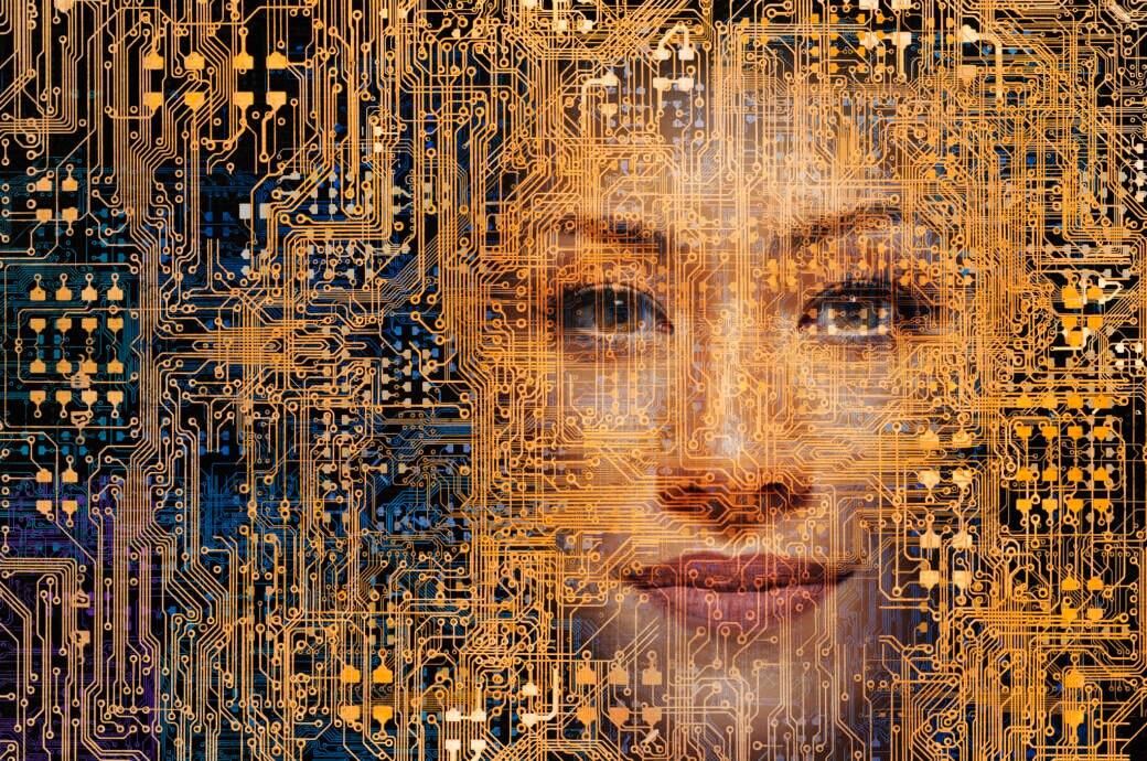 Das Gesicht einer Frau ist in einem Netzwerk