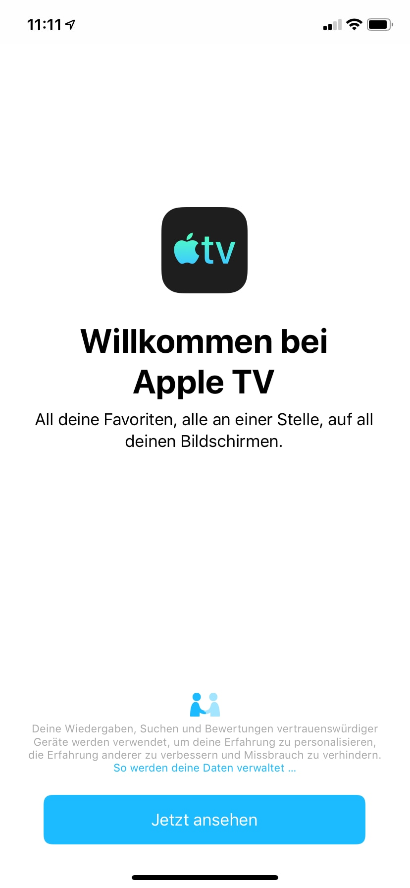 Apple TV app on the iPhone