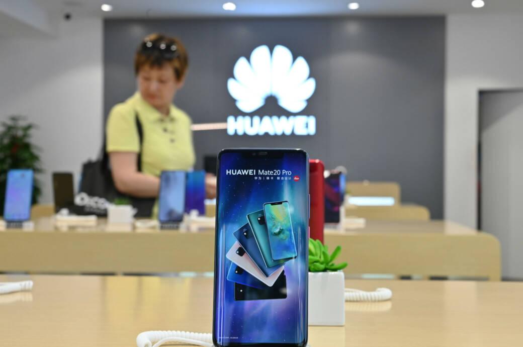 Huawei-Smartphone in einem Geschäft