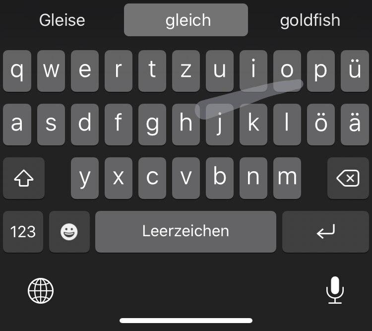 iPhone-Tastatur Wischgesten