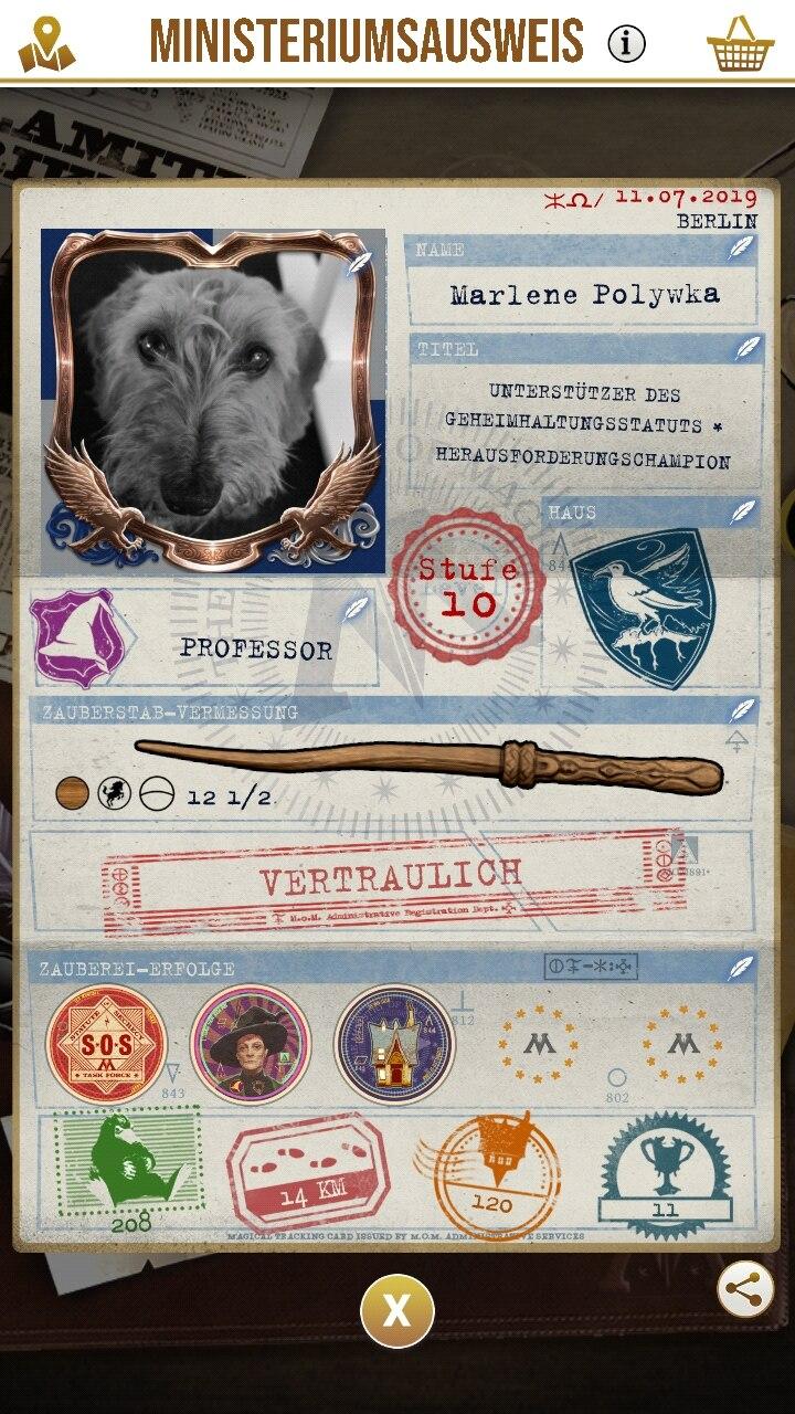 "Screenshot ""Harry Potter: Wizards Unite"": Der Ministeriumsausweis"