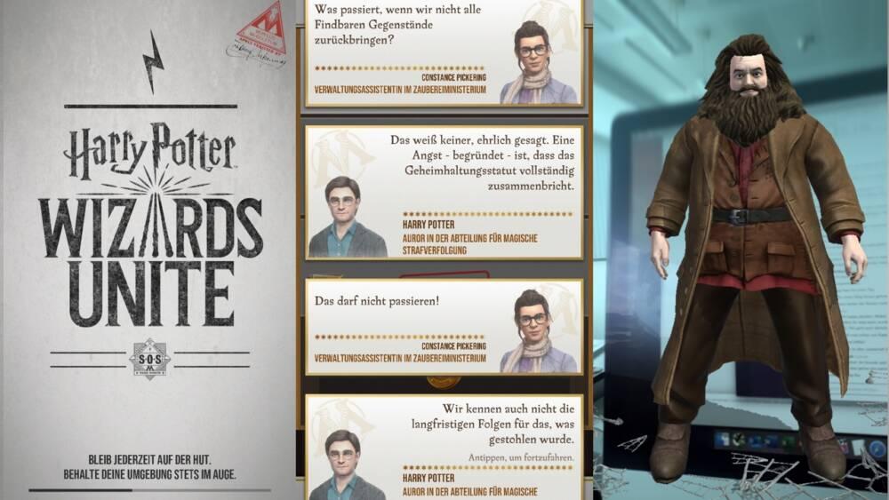Drei Screenshots nebeneinander_Harry Potter: Wizards Unite
