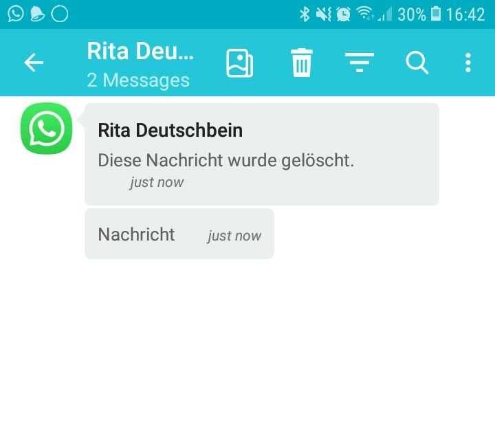 Scrennshot einer gelöschten WhatsApp-Nachricht in der App Notification History Log