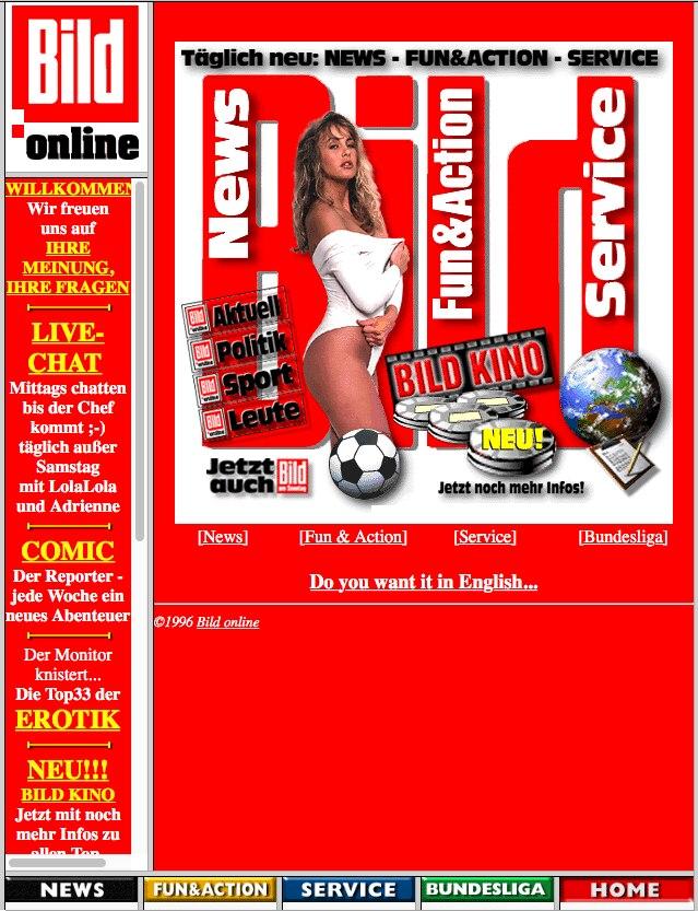 Die Startseite von Bild.de im Jahr 1996