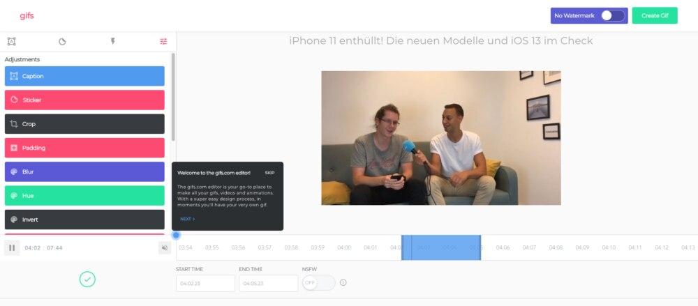Die Seite gifs.com, auf der Nutzer auswählen können, welchen Bereich eines Videos sie in ein Gif verwandeln möchten