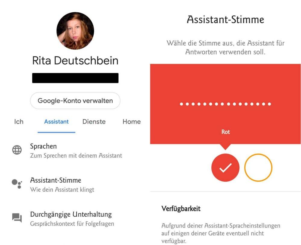 Einstellungsmenü vom Google Assistant