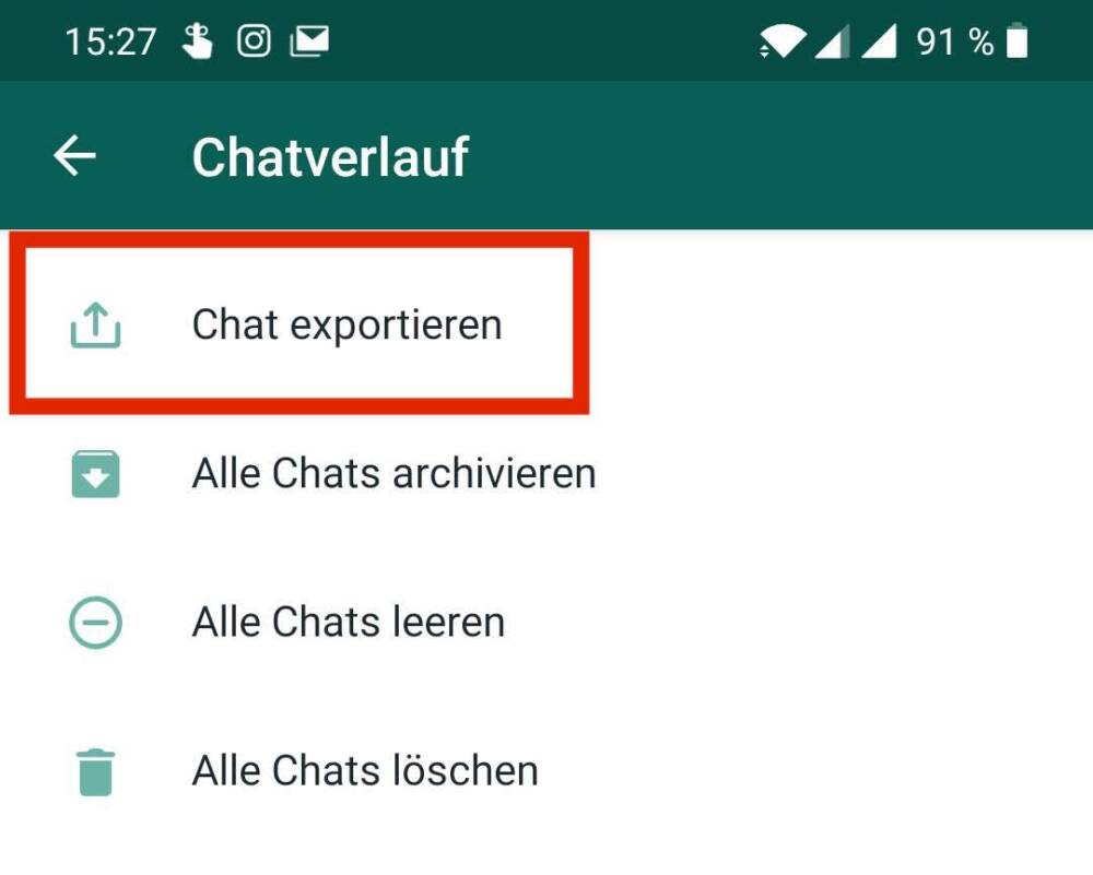 WhatsApp Android Chat exportieren