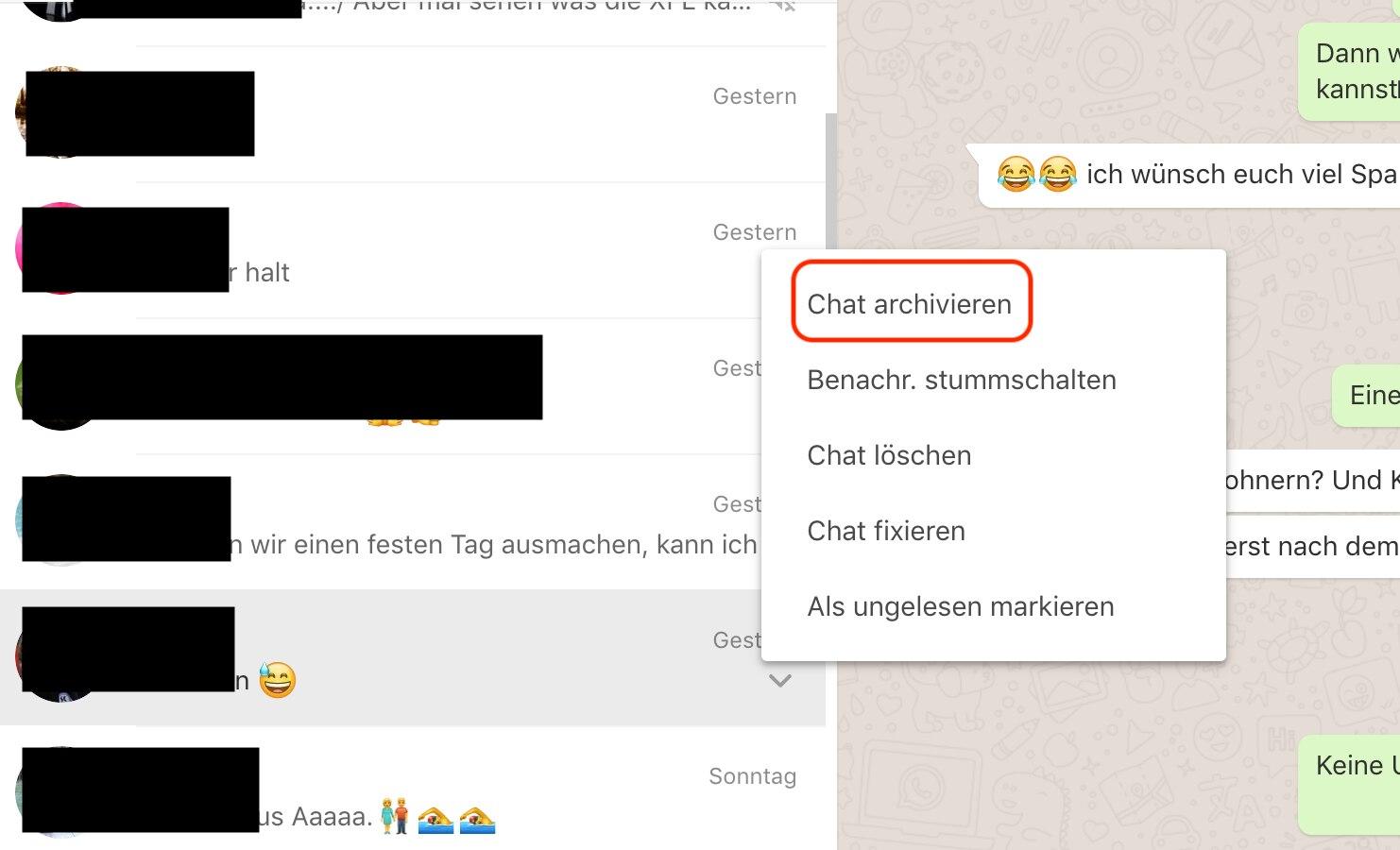 Screenshot WhatsApp Chat archivieren Web-Version