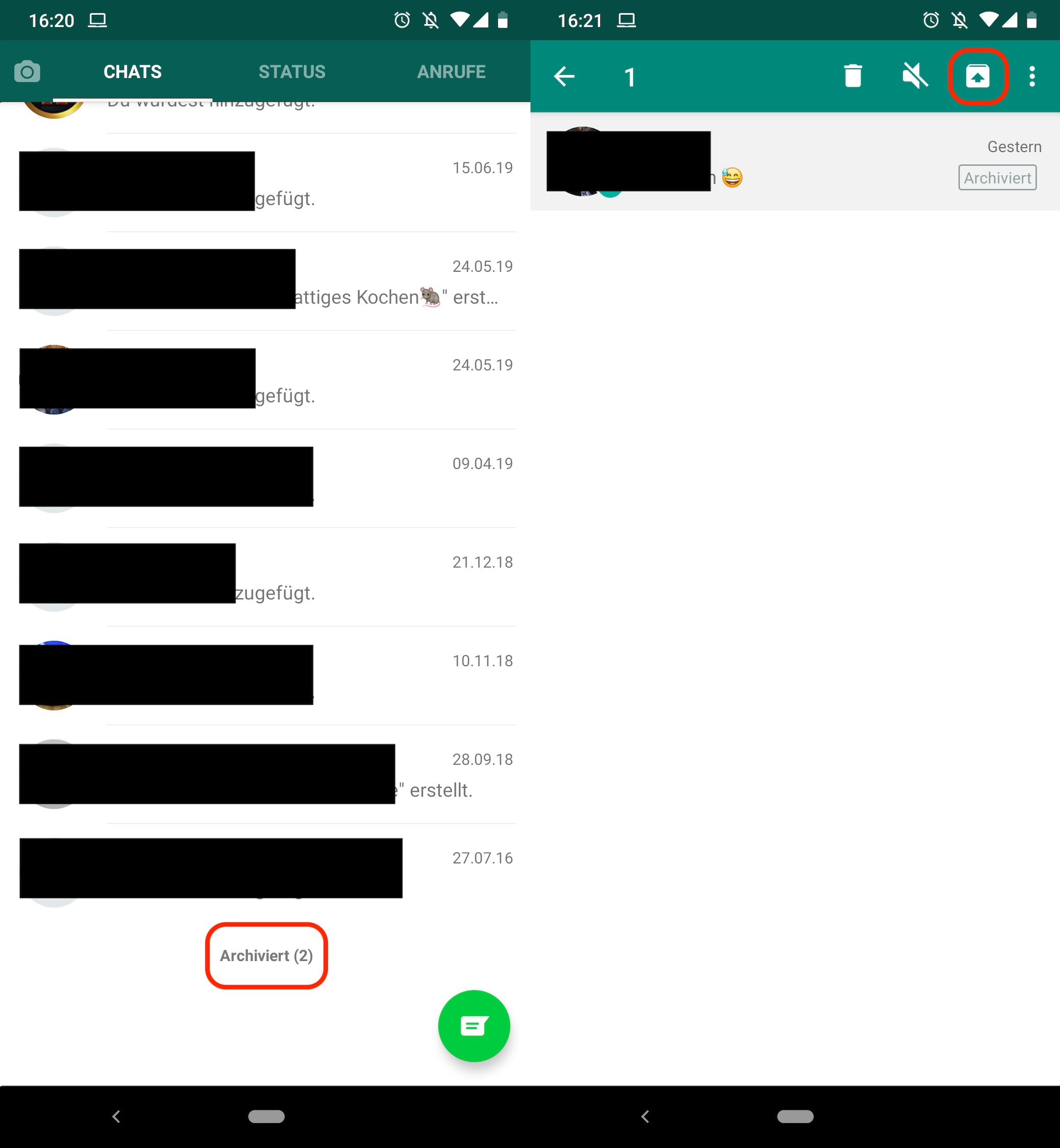 Whatsapp chat archiviert rückgängig