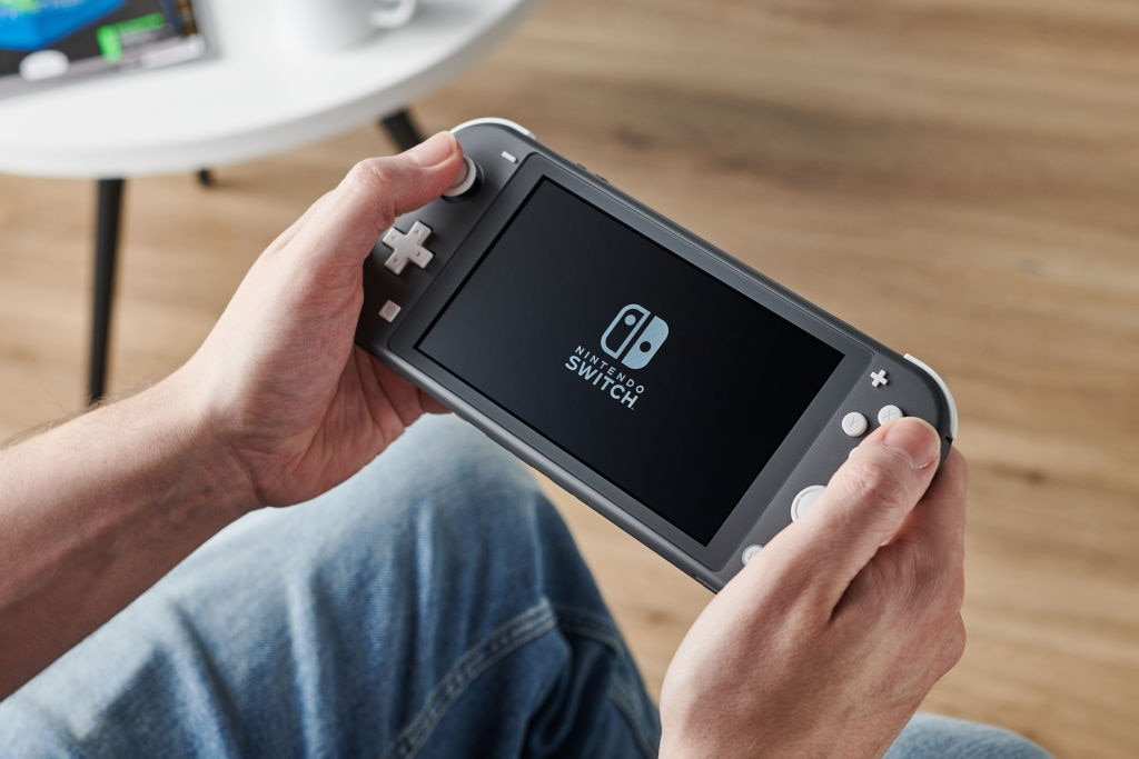 Nintendo Switch (Lite) in der Hand