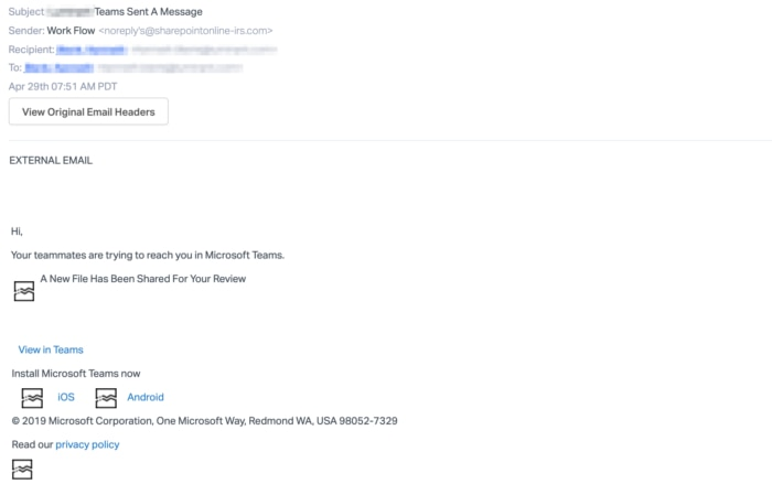 Microsoft Teams Fake E-Mail