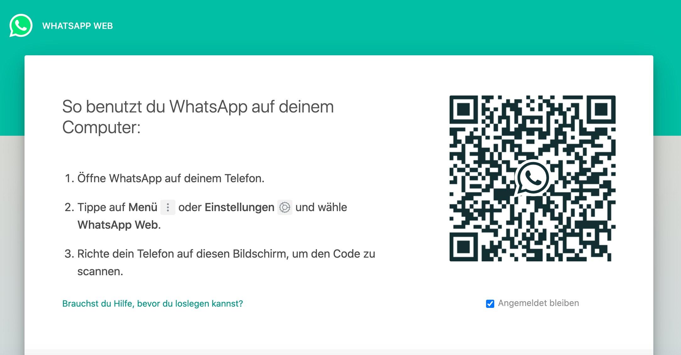 Screenshot WhatsApp Web anmelden Desktop