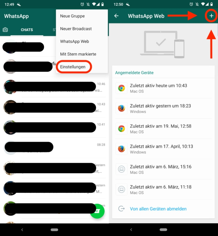 Screenshot WhatsApp Web anmelden