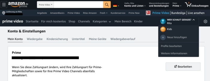 Amazon-Video-Startseite im Browser