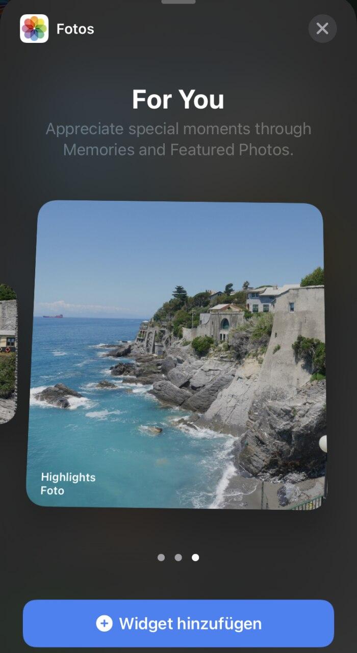 Das neue 4x4-Foto-Widget in iOS 14