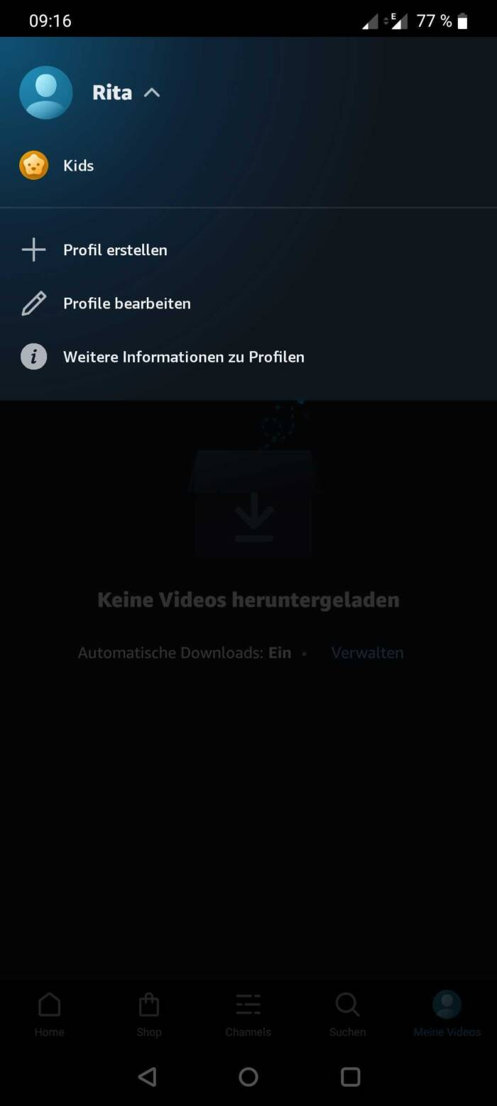 Profil für Amazon video in der Android-App