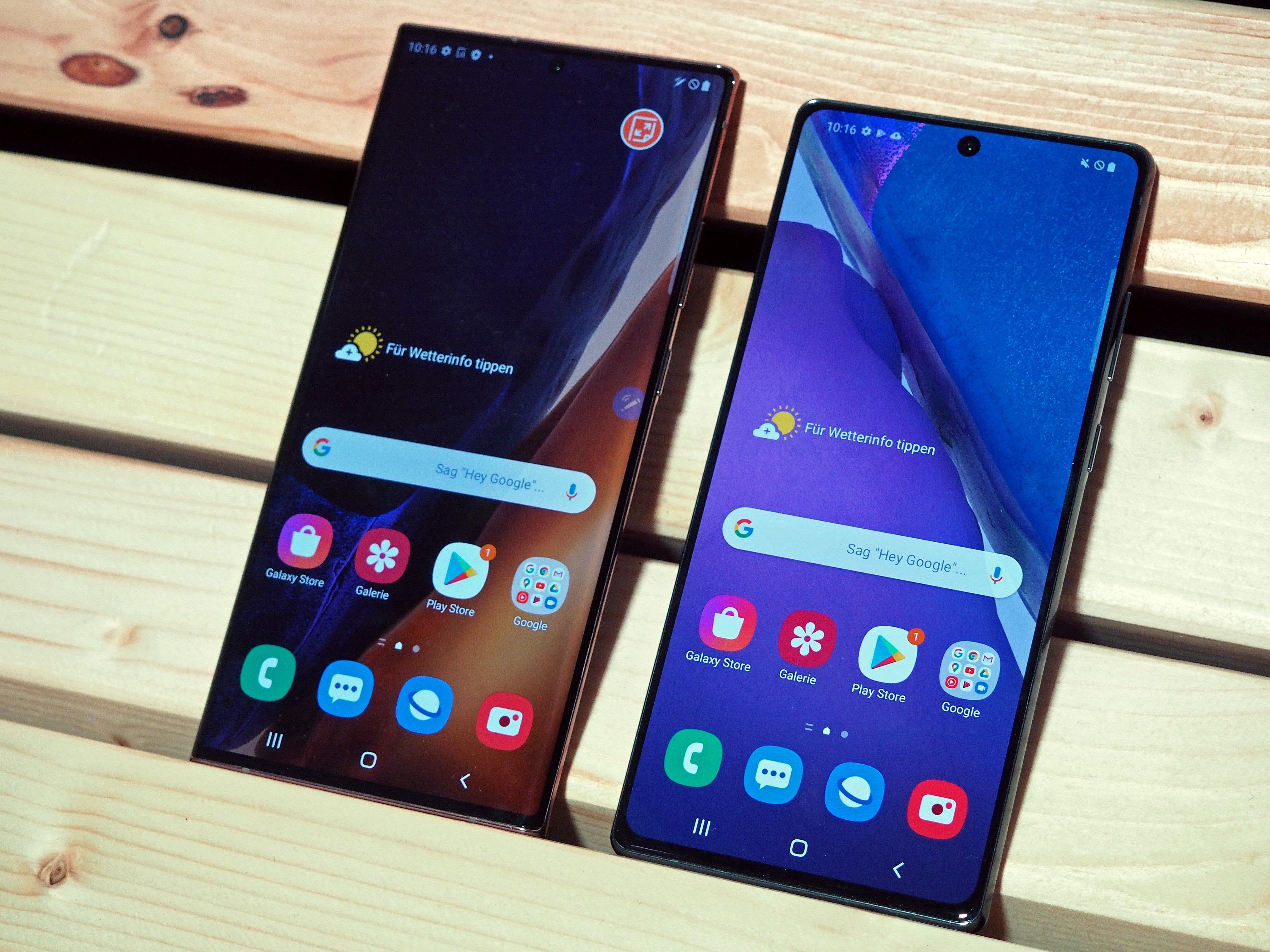 Displays des Samsung Galaxy Note 20 und Note 20 Ultra